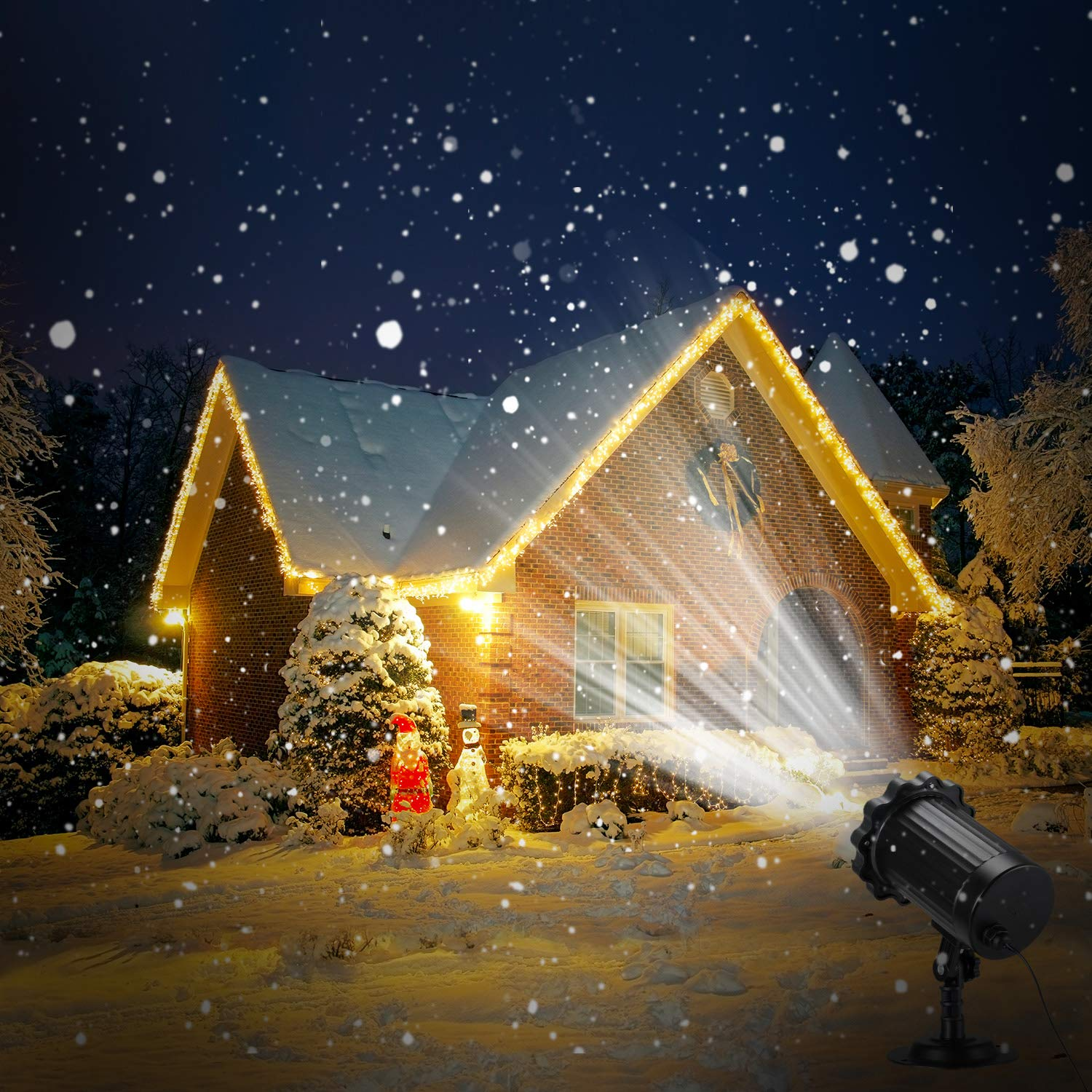 Snowfall Projector Lights, Enow Xmas Snow Falling Night Projection Lamp Waterproof Outdoor Indoor LED Snow Spotlight for Home Party Garden Halloween Holiday Landscape Decorations Remote Control