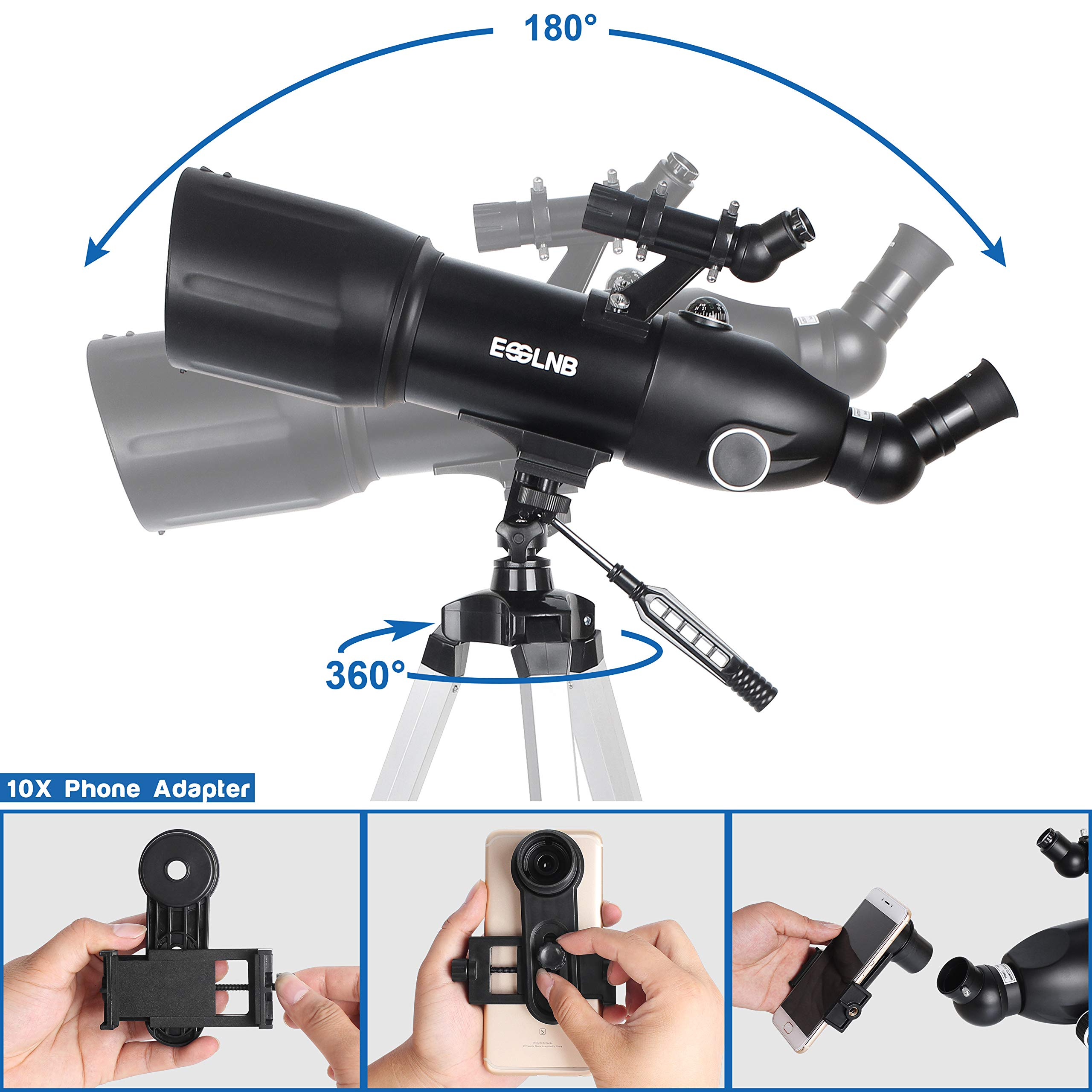 ESSLNB Telescopes for Adults Astronomy Beginners Kids 400X80mm with 10X Smartphone Adapter Adjustable Tripod Case and Moon Filter Erect-Image Diagonal Prism by ESSLNB (Image #4)
