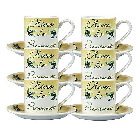 6 x porcelana taza de café y platillo de limonero Tesco Home Ware ...