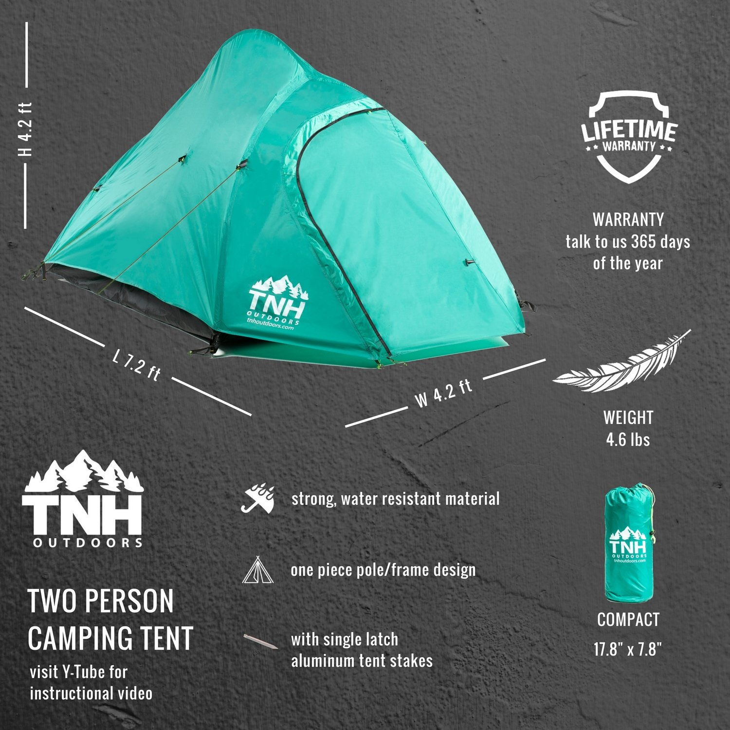 TNH Outdoors 2 Person Camping Backpacking Tent with Carry Bag and Stakes – Portable Lightweight Easy Setup Hiking Tent