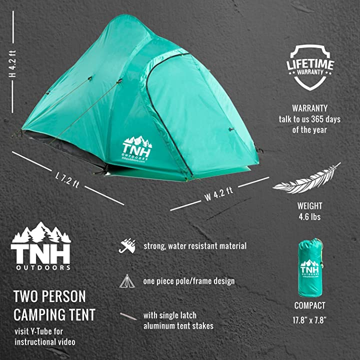 TNH Outdoors 2 Person Camping & Backpacking Tent Features