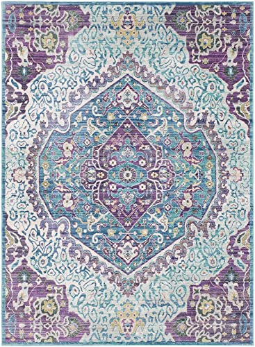 Delos Bright Purple and Pale Blue Updated Traditional Area Rug 9 x 13 1