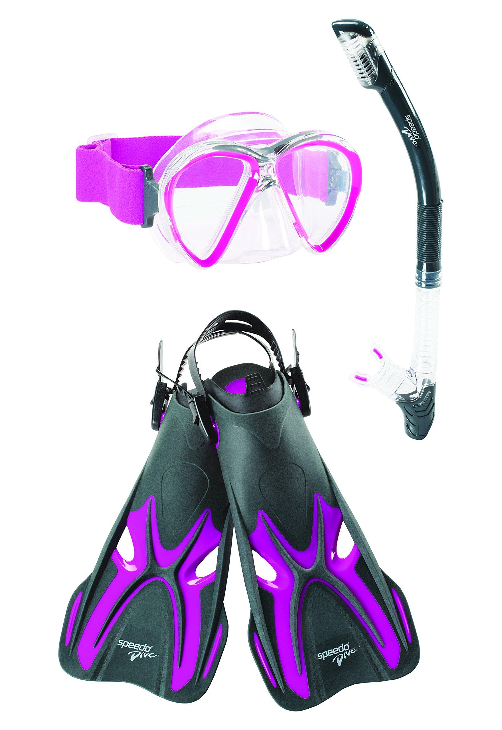 Speedo Reefseeker Underwater Mask/Snorkel/Fin Set, Fresno, Small/Medium by Speedo