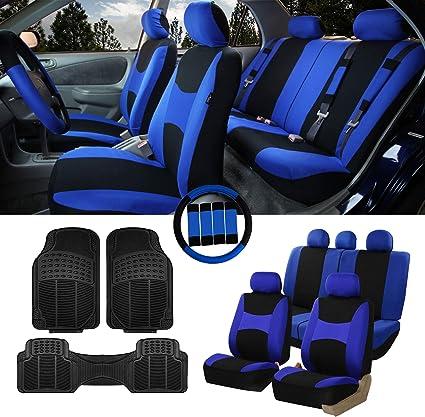 Blue//Black- Fit Most Car Gift Truck SUV or Van Airbag /& Split Ready w FH Group FB030115 Light /& Breezy Flat Cloth Full Set Car Seat Covers Set