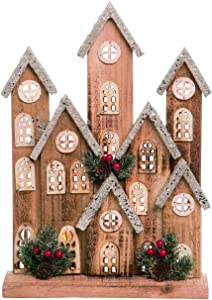 Large Rustic Wood Light Up Christmas Village House Country Home Decor – LED Lighted Holiday Farmhouse Mantel Decoration