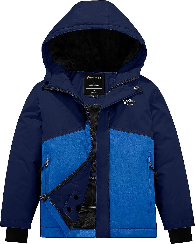 Wantdo Boy's Padded Winter Coat Hooded Puffer Ski Jacket Waterproof Rainwear