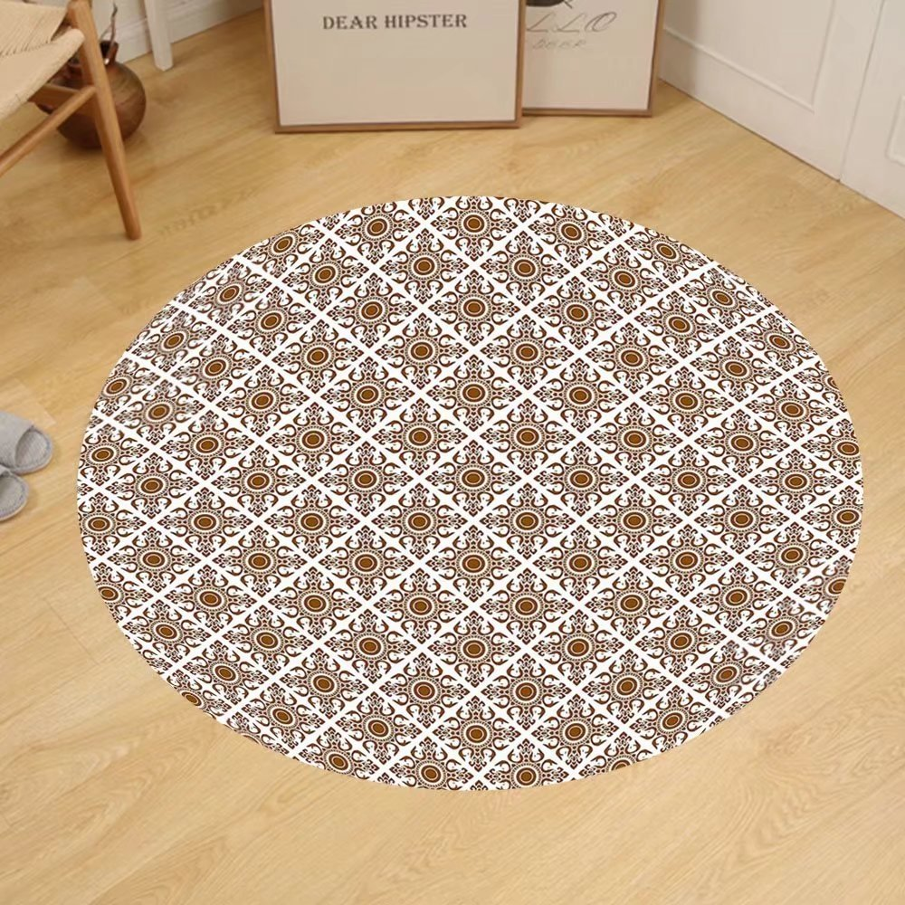 Gzhihine Custom round floor mat Ethnic Thai Mosaic Art Culture Stylized Abstract Lines Dots Pattern Folk Asian Design Bedroom Living Room Dorm Redwood White by Gzhihine