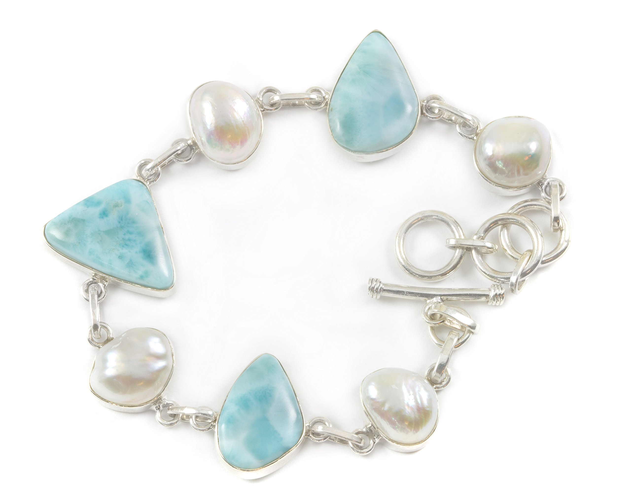 Sterling Silver Larimar Bracelet Off Round Freshwater Cultured Pearls Blue 7.5 8.5 Inches