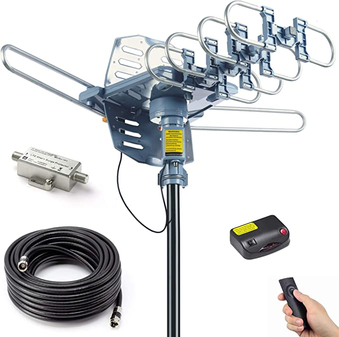 pingbingding Antena HDTV digital amplificada para exteriores con cable coaxial RG6 de 40 pies, rango de 150 millas, rotación de 360 grados, mando a distancia inalámbrico, instalación a presión, soporta 2 televisores: Amazon.es: Electrónica