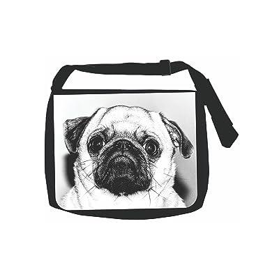 Black and White Pug Dog - Girls Black School Shoulder Messenger Bag
