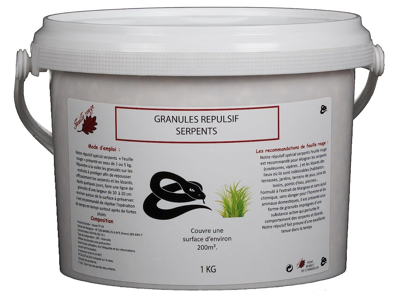 Granulat. Fernhaltemittel Schlange. in 1 kg schützt + - 200 m² Feuille rouge