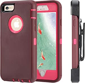 iPhone 6 Case, iPhone 6s [Heavy Duty Protection] [with Kickstand] 4 in 1 Rugged Shockproof Cover Holster Case with Built-in Screen Protector for Apple iPhone 6/6S (Wine/Rose Red