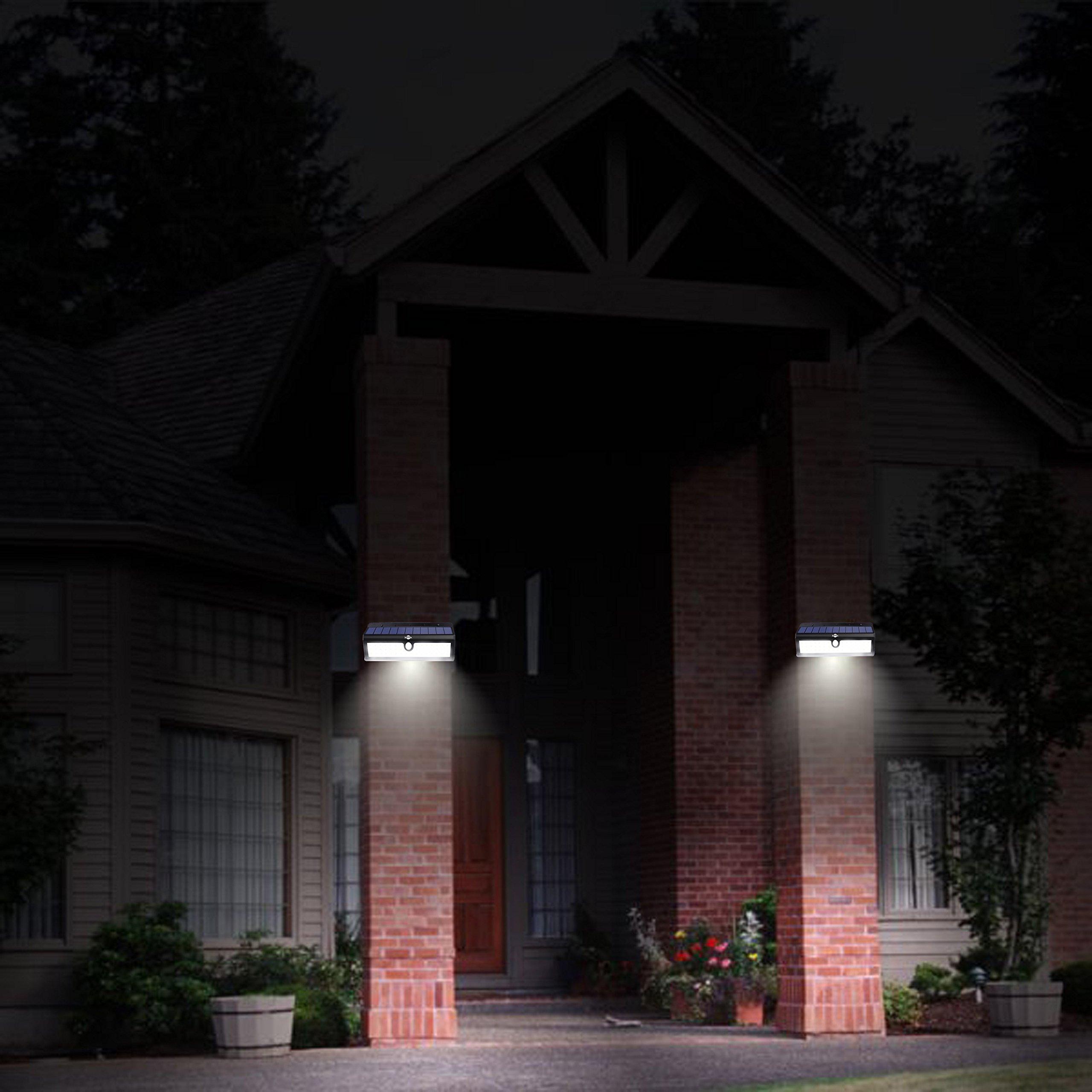 Super Bright 44 Big LED Motion Sensor Solar Powered Wireless Security Wall Outdoor Garden Ponds Accent Lighting Pond Decor Lamp Finials Lights Three Smart Modes Weatherproof Easy Install Green Tech by broSolar (Image #4)