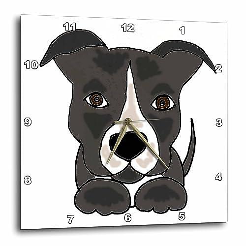 3dRose Funny Grey Pitbull Puppy Dog Cartoon – Wall Clock, 10 by 10 DPP_201801_1