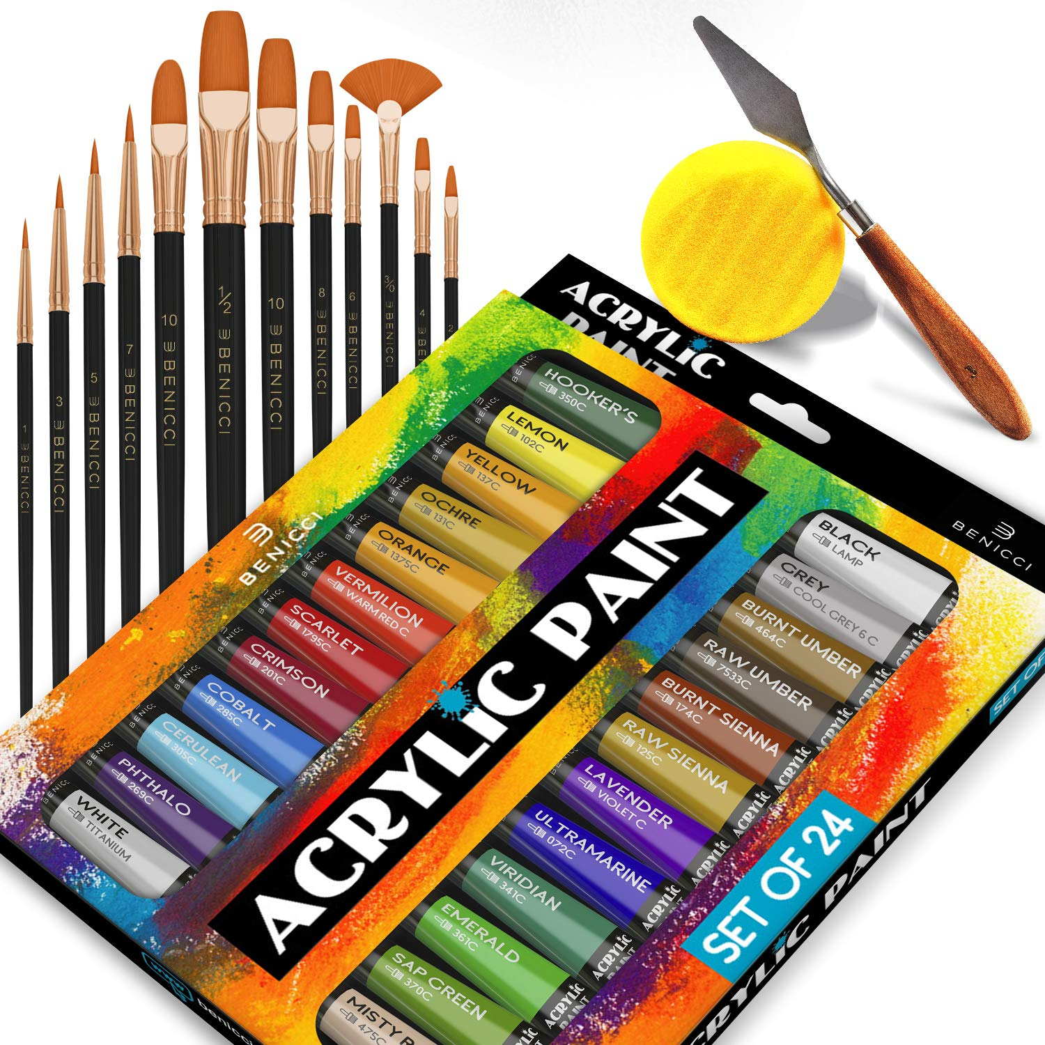 Complete Acrylic Paint Set - 24х Rich Pigment Colors - 12x Art Brushes with Bonus Paint Art Knife & Sponge - for Painting Canvas, Clay, Ceramic & Crafts, Non-Toxic & Quick Dry - for Kids & Adults by Benicci