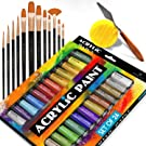 Complete Acrylic Paint Set – 24х Rich Pigment Colors – 12x Art Brushes with Bonus Paint Art Knife & Sponge – for Painting Canvas, Clay, Ceramic & Crafts, Non-Toxic & Quick Dry – for Kids & Adults