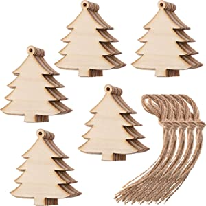Tatuo 50 Pieces Wooden Christmas Tree Cutouts Embellishments Hanging Ornaments with Ropes for Christmas Decoration, Festival, Wedding, Craft