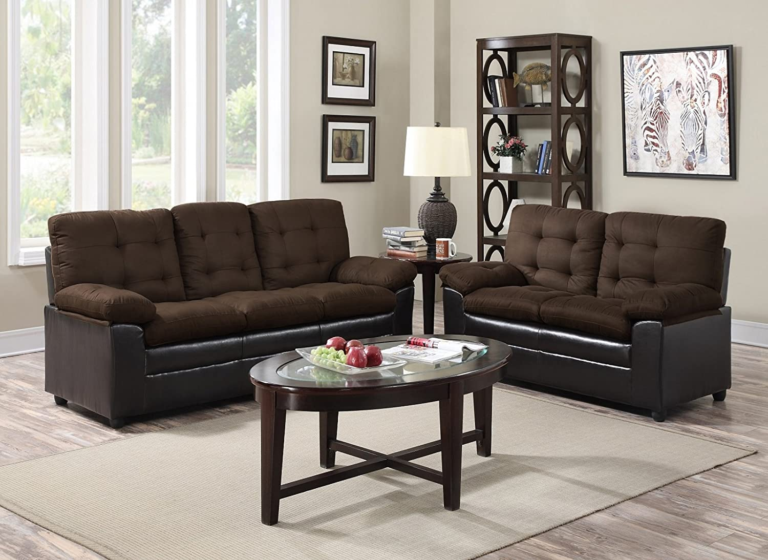 Amazon.com: GTU Furniture 2 Tone Microfiber Sofa U0026 Loveseat Set, 5 Colors  Available (Chocolate): Kitchen U0026 Dining