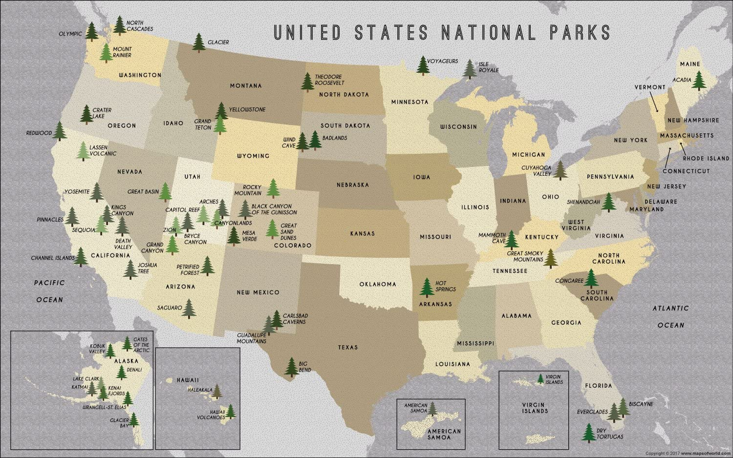National Parks Us Map Amazon.: US National Parks Map (36