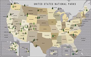 National Parks In Usa Map Amazon.: US National Parks Map (36