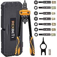 """REXBETI 14"""" Rivet Nut Tool, Professional Rivet Setter Kit with 7 Metric & SAE Mandrels and 60pcs Rivnuts, Labor-Saving…"""