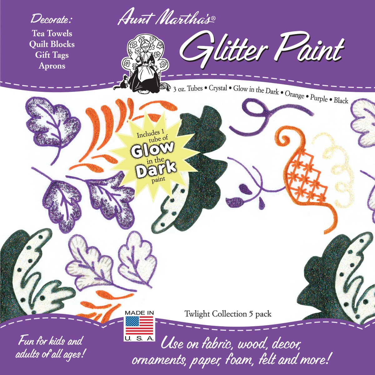 Aunt Martha's GPP2 Glitter Paint Tube, 3-Ounce, Twilight, 5-Pack