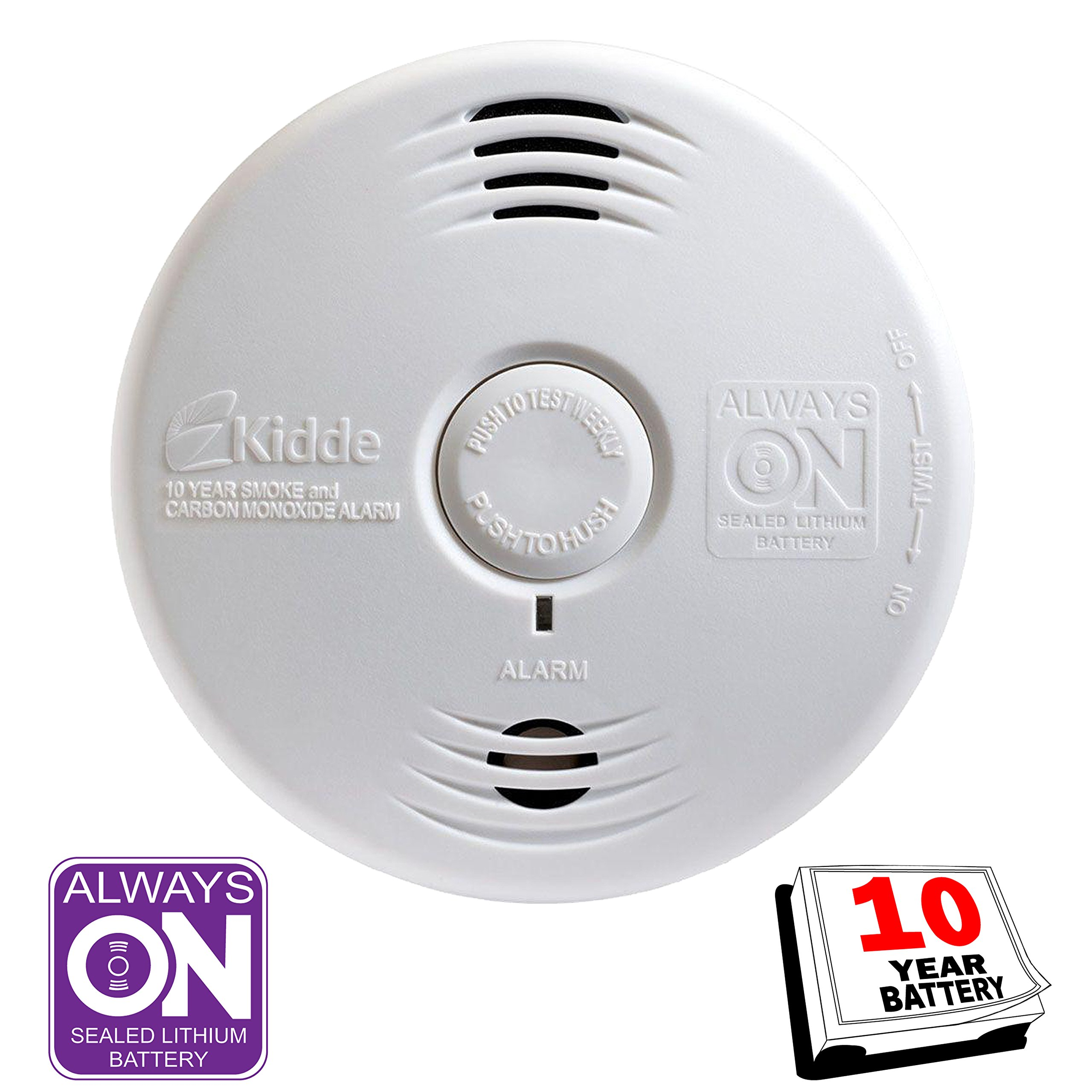 Kidde Smoke and Carbon Monoxide Detector Alarm with Voice Warning | Hardwired w/10 Year Lithium Battery Backup | Interconnectable | Model # i12010SCO by Kidde