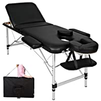 TecTake Table de massage pliante aluminium cosmetique lit de massage portable noir + housse de transport