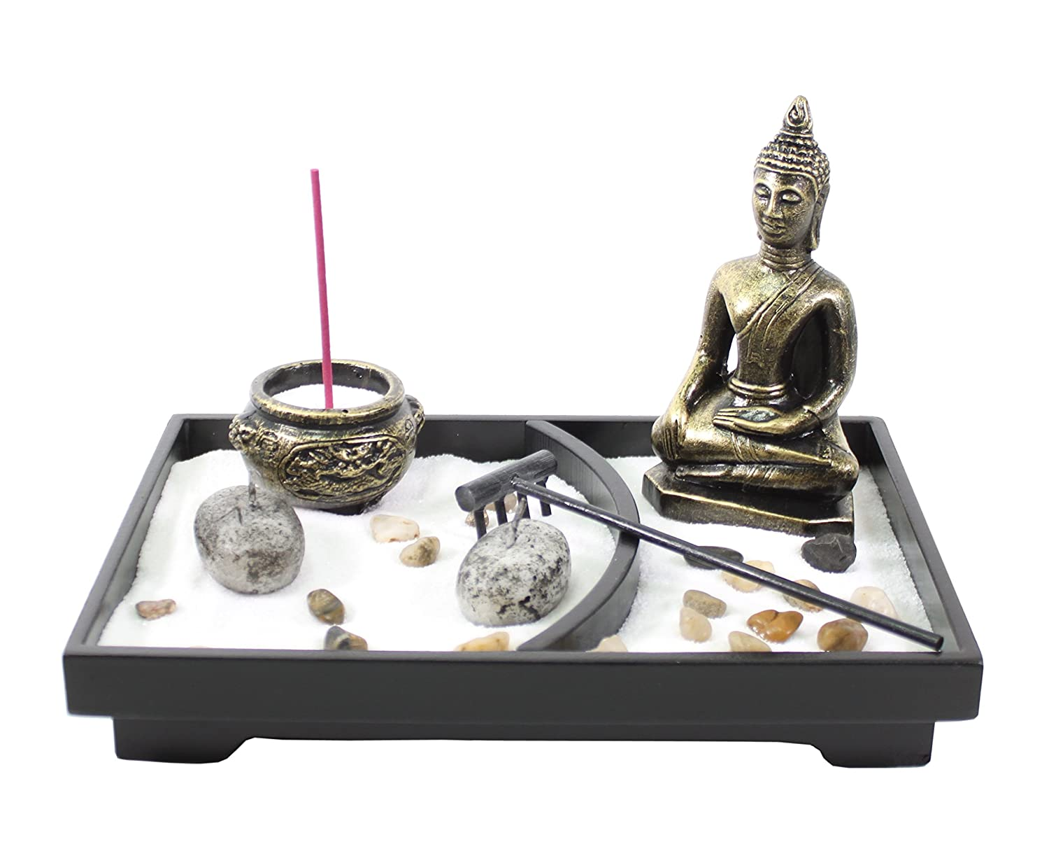 Tabletop Zen Garden Buddha Rock Rake Sand Candle Incense Burner Home Decor Gift