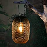 Solar Hanging Lantern Outdoor Indoor Decorative Big Vintage Metal LED Tabletop Light Hollow Out with Handle for Garden…