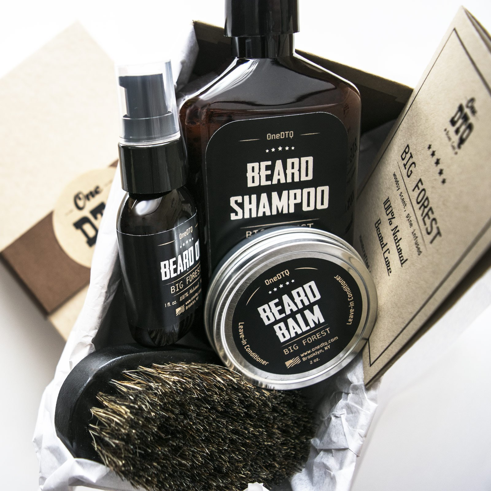 Big Forest Beard Grooming Kit - Shampoo 9 oz - Oil 1 oz - Beard Balm 2 oz - Brush - Wood Scent - 100% Natural and Organic Beard Growth Care Products in Premium Gift Box