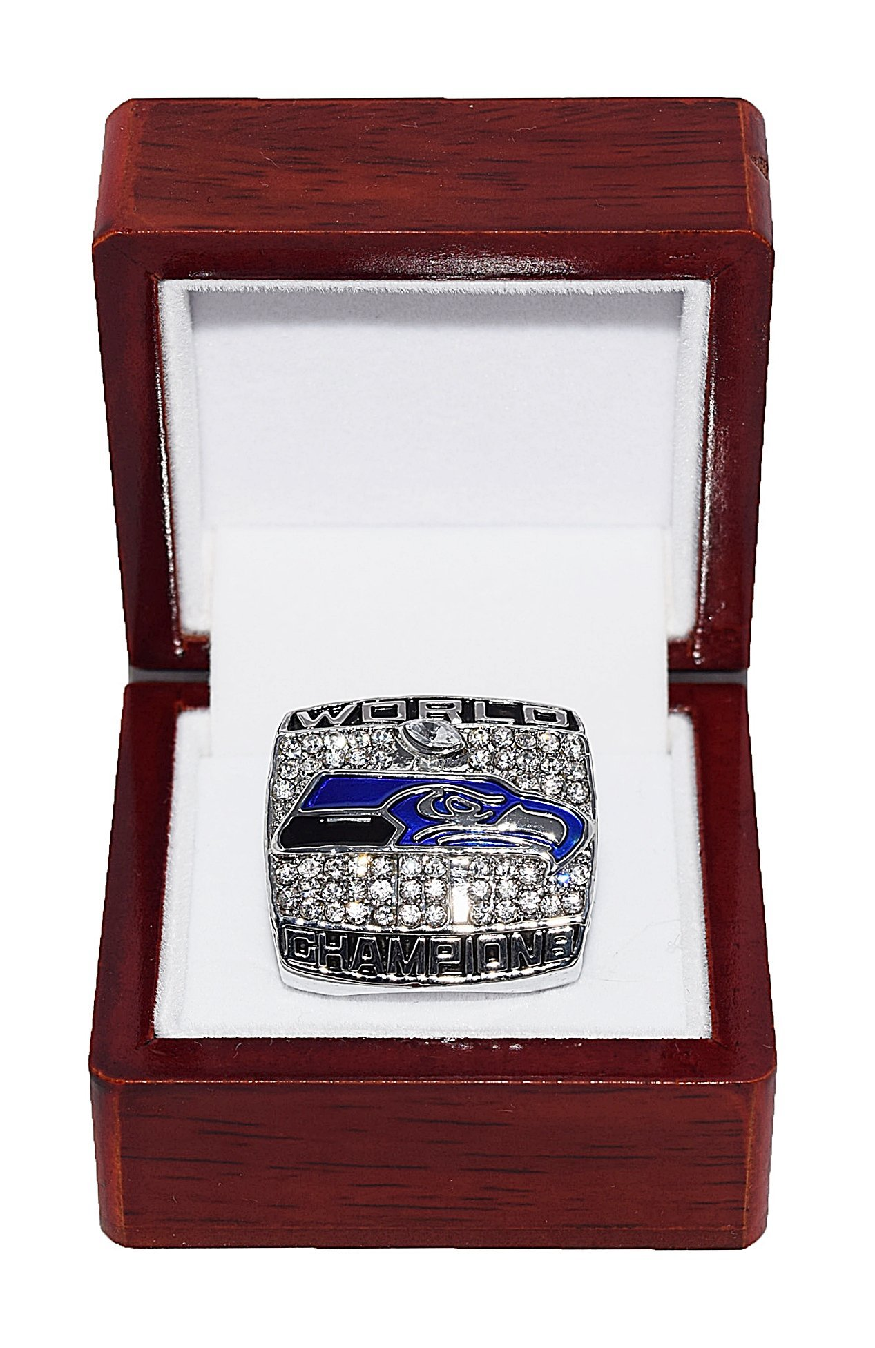 SEATTLE SEAHAWKS 2013 SUPER BOWL XLVIII WORLD CHAMPIONS (Vs. Denver Broncos) #1 Fan Rare & Collectible High Quality Replica NFL Football Silver Championship Ring with Cherrywood Display Box