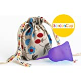 SckoonCup - Made in USA FDA Cleared , organic cotton menstrual cup Pouch - ZEN Purple Size A Small