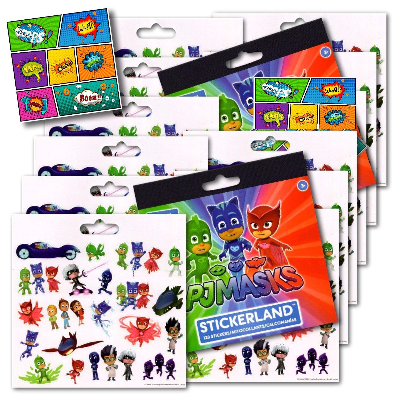 PJ Masks Stickers Party Favors - Bundle of 12 Sheets plus 2 Jumbo Specialty Comic Pop Art Reward Stickers