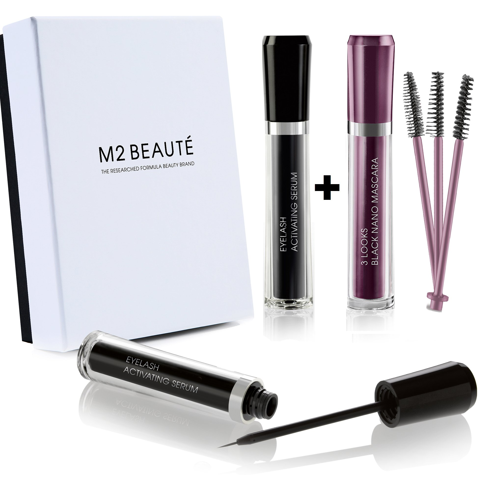 M2Beaute Mascara & Eyelash Activating Serum 5ml - 3 LOOKS BLACK NANO MASCARA with 5ml Eyelash growth Serum & M2Beaute Gift Box by M2Beaute (Image #1)