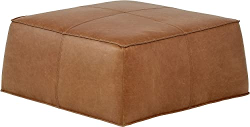 Amazon Brand Rivet Contemporary Leather Ottoman Pouf 36″W