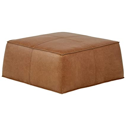 Rivet Contemporary Leather Ottoman Pouf, 36