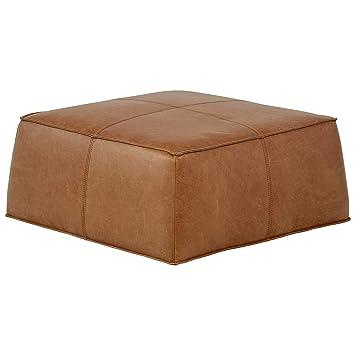 Tremendous Rivet Contemporary Leather Ottoman Pouf 36W Cognac Ncnpc Chair Design For Home Ncnpcorg