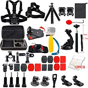 Lifelimit Accessories Starter Kit Compatible with Gopro Hero 9/8/Max/7/6/Fusion/5/Session 4/3/2/HD Black White Silver DJI AKASO APEMAN Campark SJCAM Action Camera