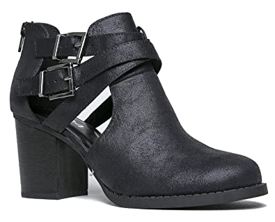 Scribe! Soda Women's Cutout Sides Buckles Straps Ankle Boots