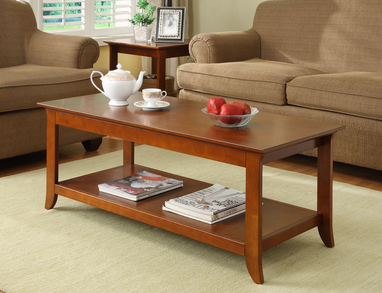 Amazon.com: WES Home Furniture Coffee Table, CRE Series, 20 By 46 By  20 Inch, Walnut Finish: Kitchen U0026 Dining