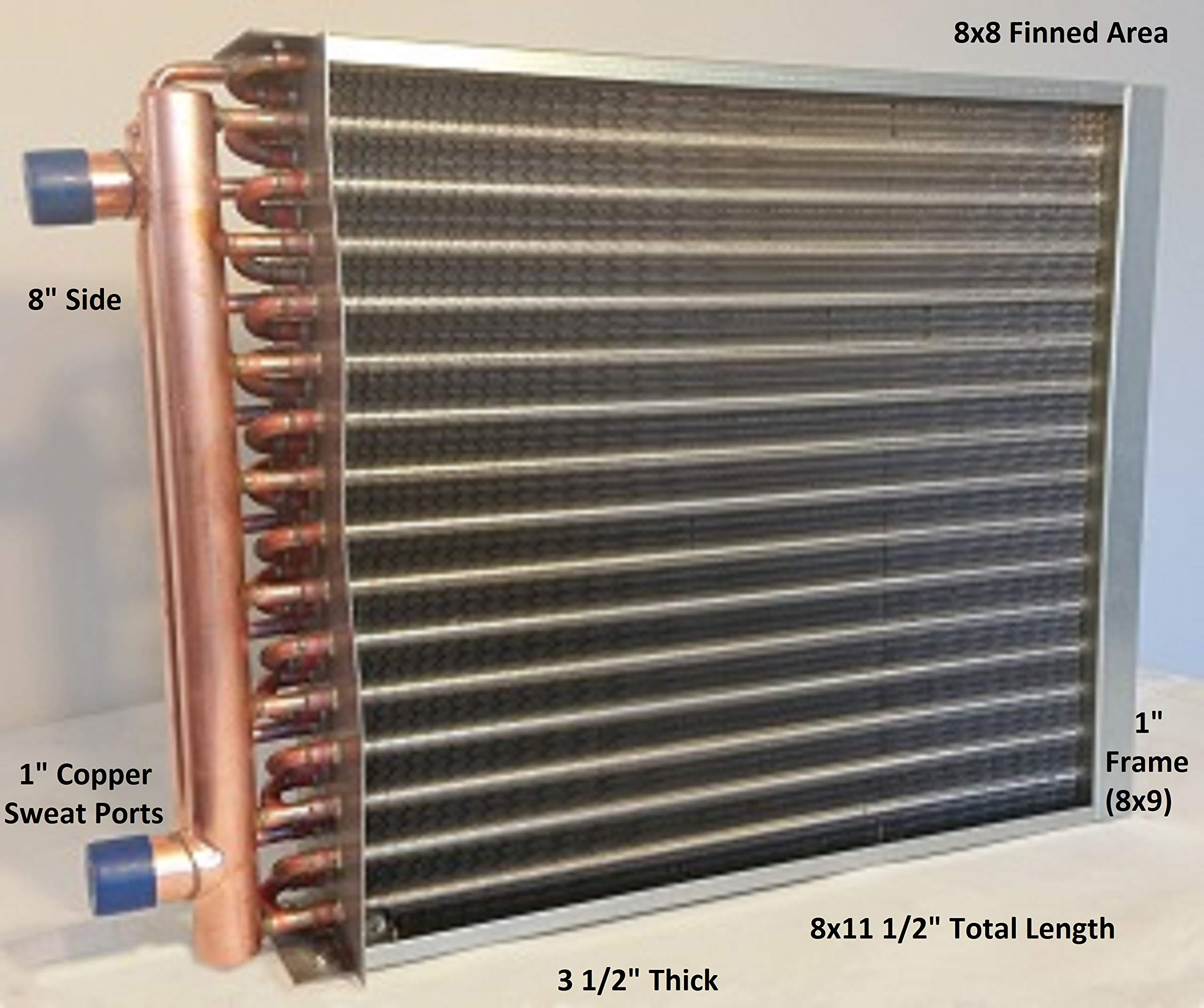 8X8 Water to Air Heat Exchanger~1'' Copper Ports w/EZ Install Front Flange by Badger Insulated Pipe