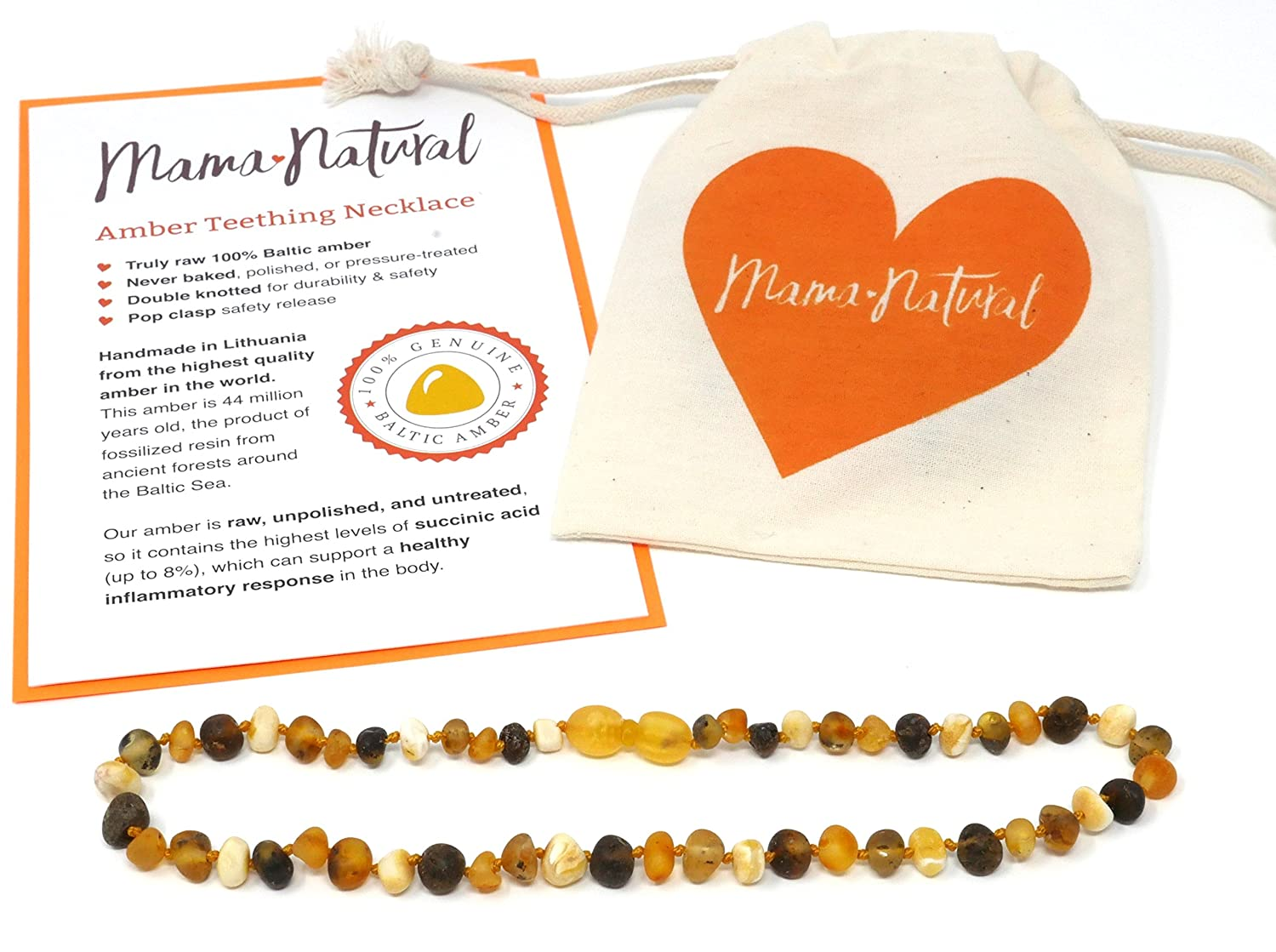 Amber Teething Necklace Truly Raw 100/% Baltic Amber