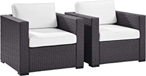 Crosley Furniture Biscayne 2-Piece Outdoor Wicker Conversation Set, Brown with White Cushions