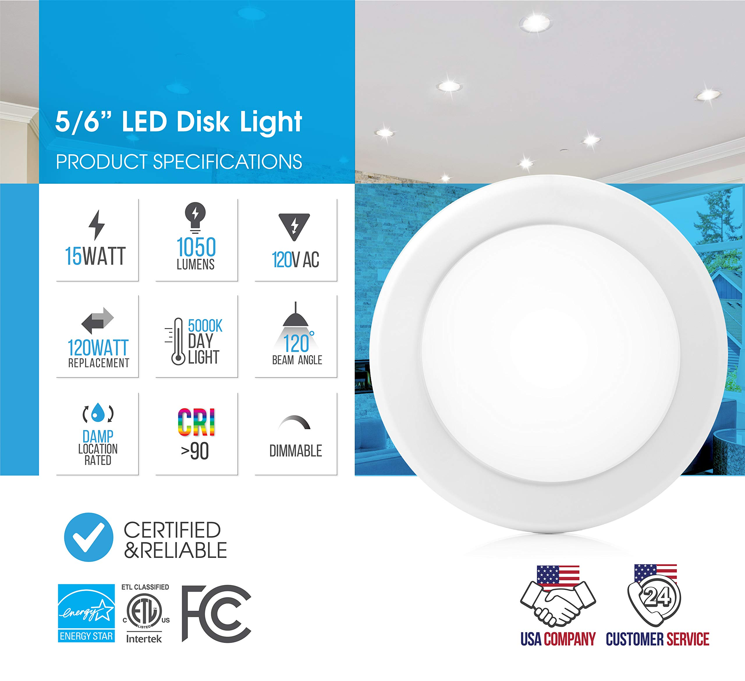 Parmida (12 Pack) 5/6'' Dimmable LED Disk Light Flush Mount Recessed Retrofit Ceiling Lights, 15W (120W Replacement), 5000K (Day Light), Energy Star, Installs into Junction Box Or Recessed Can, 1050lm by Parmida LED Technologies (Image #3)