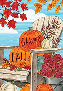 Welcome Fall Adirondack - Garden Size, 12 Inch X 18 Inch, Decorative Double Sided Flag Printed in USA - Copyright and Licensed, Trademarked by Custom Décor Inc.