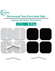 """RecoverPad 2"""" Square Professional TENS Unit Pads,3rd Gen Japanese Gel Latex-Free Replacement Electrode(Health Canada and FDA Approved),Upgraded Self-Stick Performance,Skin Friendly and Non-Irritating"""