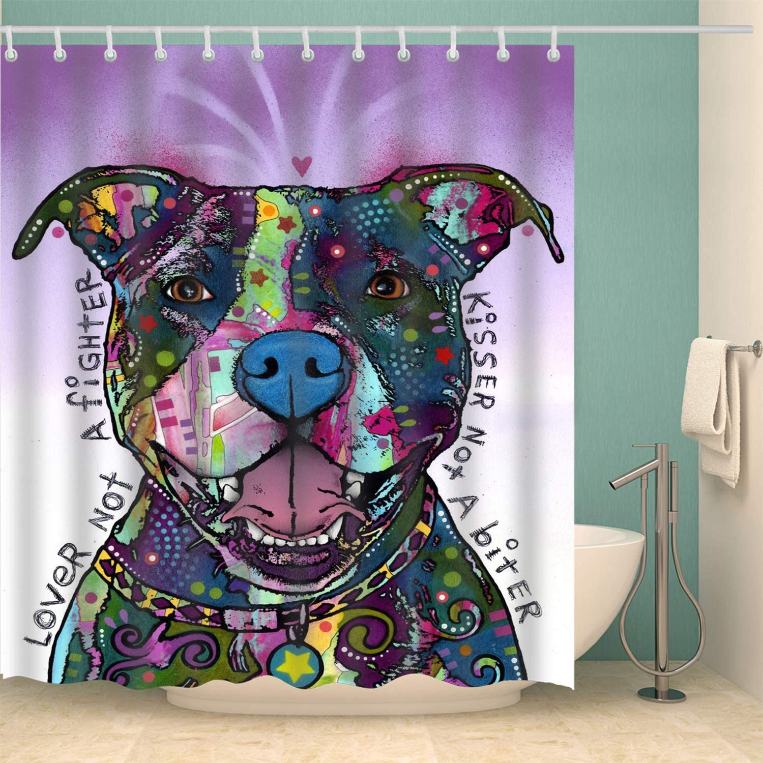M maoav Dog Shower Curtain,3D Bathroom Colorful Lovely Cartoon Dog Home Decor Shower Curtain with Hook Waterproof Polyester 70x70 inch