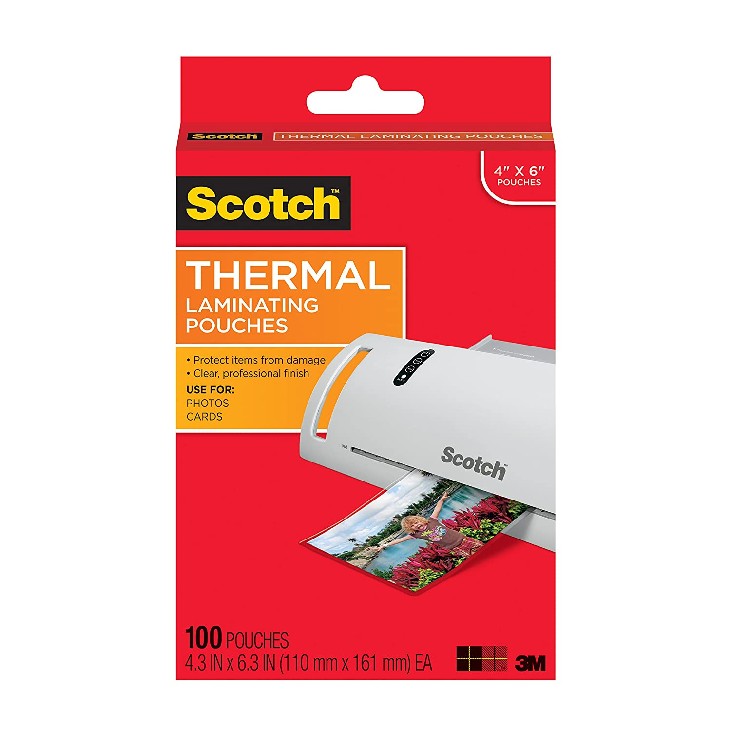Scotch Thermal Laminating Pouches, 4.37 Inches x 6.36 Inches, 20 Pouches (TP5900-20) 3M