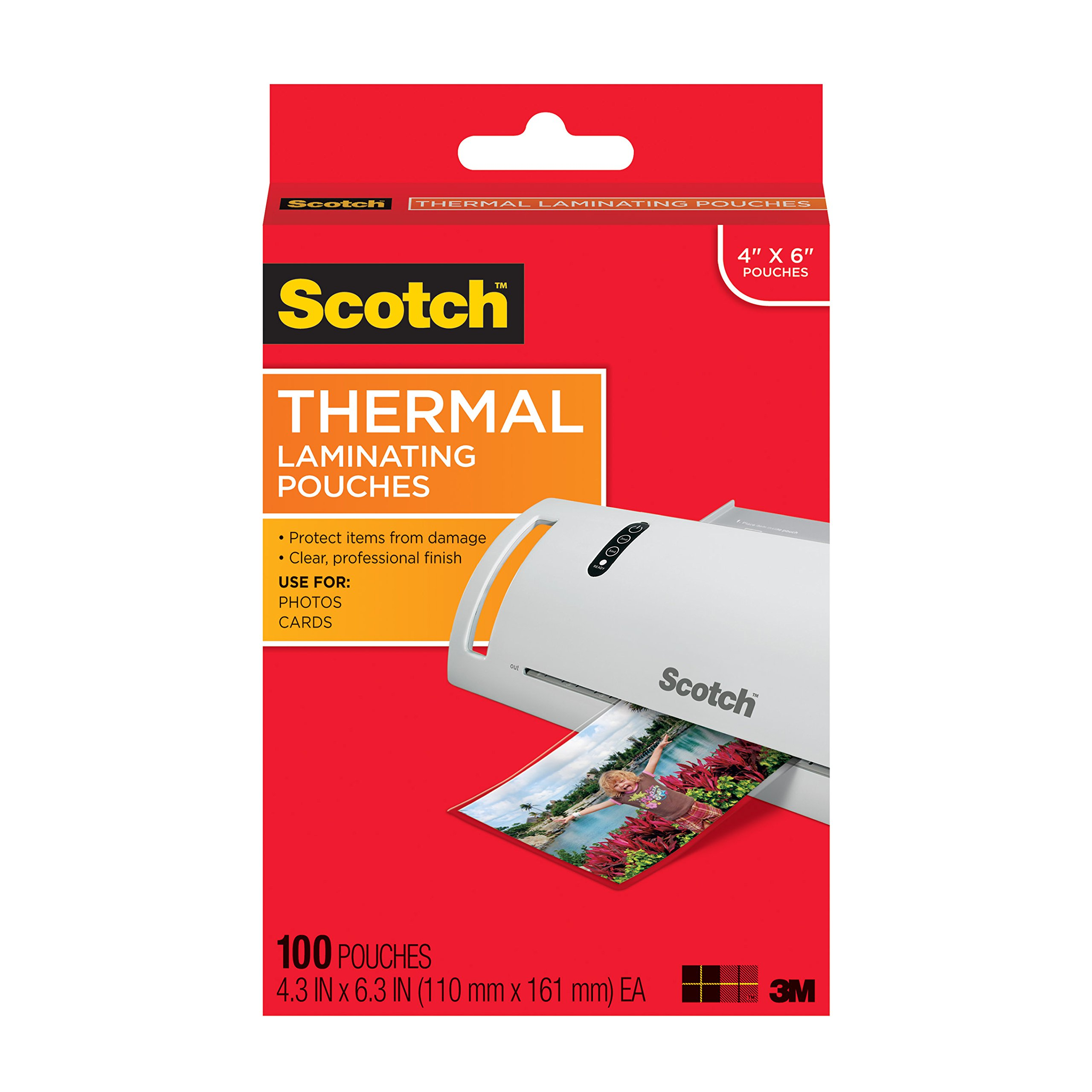 Scotch Thermal Laminating Pouches, 4.3 Inches x 6.3 Inches, 100 Pouches (TP5900-100) by 3M